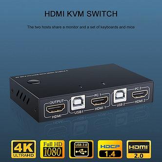 2 Ports USB HDMI KVM Switch Box 4K Video Display USB Switch KVM Splitter Box