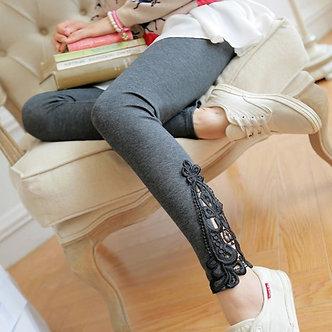 Autumn Maternity Leggings Lace Hollow-Out Decorative Knit Cotton Pregnant Women