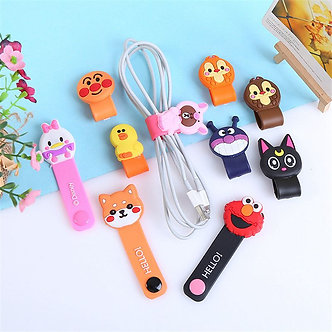 5 Pcs Cute Cartoon Storage Buckle for Mobile Phone Headphone Data Cable
