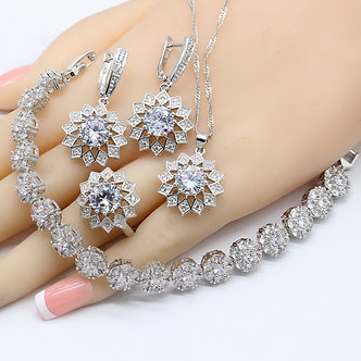 2020 Hotting White Zirconia Silver Color Bridal Jewelry Sets for Women Neck