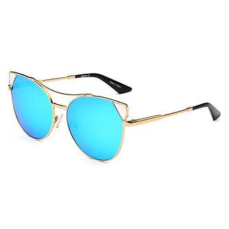 ASPEN   CA02K - Womens Trendy Mirrored Lens Cat Eye Sunglasses
