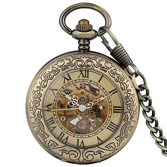 Antique Bronze Transparent Design Mechanical Automatic Self-Wind Pocket Watch