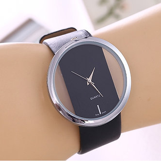 1PCS Top Leather Quartz Watch Lady Watches Women Luxury Antique Stylish Round