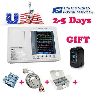7-inch LCD 12 leads 3 channel ECG EKG machine Electrocardiograph interpretation