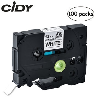 100pcs P-Touch Tz231 Tze231 12mm Black on White Label Tape Tze-231 Tz-231