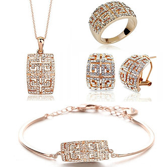 2021 New Design Hot Sale Gold-Color Austria Crystal Jewelry Set for Women