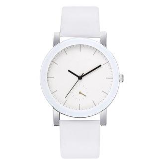 1PCs Simple Quartz Watches Unisex Men Women White Bracelet Watches PU Leather