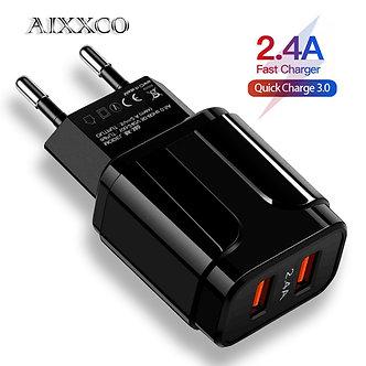 AIXXCO 5V 2A EU Plug LED Light 2 USB Adapter Mobile Phone Wall Charger Device