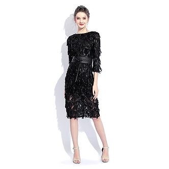 2021 New Black O-Neck Half Sleeves Cocktail Party Dress Sheath Sequin Knee