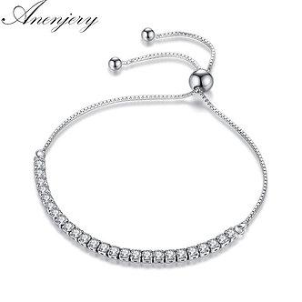 ANENJERY 925 Sterling Silver Elegant 25 PCS Shiny ZIrcon Crystal Bracelet