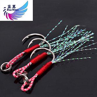 5pcs/Lot Fishing Cast Jigs Assist Hook Barbed Single Jig Hooks Thread Feather