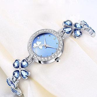 1PCs Four-Leaf Clover Luxury Women's Fashion Quartz Watch Rhinestone Bracelet