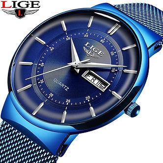 2021 New Blue Quartz Clock LIGE Mens Watches Top Brand Luxury Watch for Men Sim