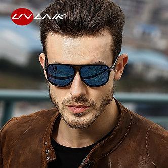 UVLAIK Rectangle Polarized Sunglasses Men Oversized Mirror Driving Sun Glasses