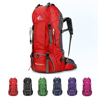 60L Waterproof Polyester Outdoor Travel Backpack Rucksack Sport Bag With Rain