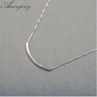 ANENJERY 925 Sterling Silver Simple Fashion Necklace for Women Stereo Pipe
