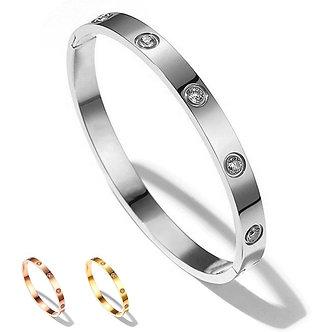 2021 Luxury Female Bijoux Shining Crystal Bangles for Women Men Lover Bracelet