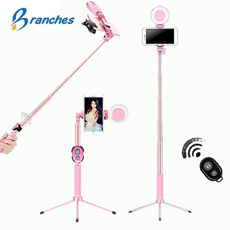 1.7m Extendable Live Tripod Selfie Stick LED Ring Light Stand 4 in 1