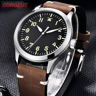 42mm Corgeut Sterile Dial Watch Sapphire Glass Military Men Automatic Luxury