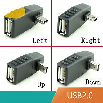 Mini USB 5Pin Male to USB Female 90 Degree Angle Converter Connector Data