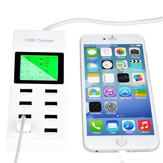 LCD Display Smart Multiple 8 Port USB Wall Travel Fast Charger Power Adapter ZI0