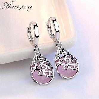 ANENJERY 925 Sterling Silver Moonlight Opal Tears Totem Drop Earrings Gift