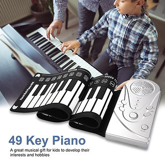 49-Key Horned Hand Roll Piano Portable Folding Keyboard Can Be Rolled Up