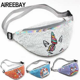 AIREEBAY Sequins Fanny Pack for Girls Cartoon Printing Unicorn Waist Bag