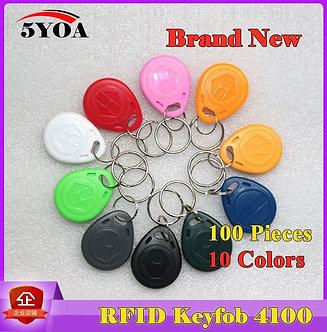 100Pcs Read Only RFID Tag Key Fob Keyfobs Keychain Ring Token 125Khz Proximity