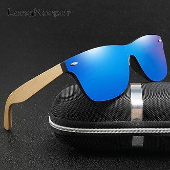 LongKeeper Wood Bamboo Oversized Sunglasses Luxury Brand Designer Rimless