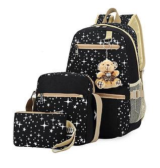 3pcs/Set Women Backpack School Bags Star Printing Cute Backpacks With Bear