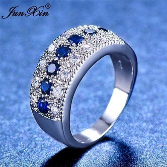 2018 Women Ladies Blue Stone Ring Crystal Round Zircon Finger Ring Cute Wedding