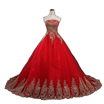 2021 New Ball Gown Lace Tulle Red Wedding Dress With Tail Chinese Pattern Style