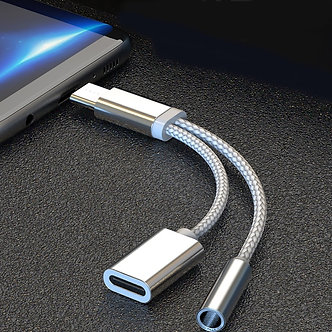 2 in 1 USB Type C Charging Cable Type-C Convertor 3.5mm Audio for Xiaomi