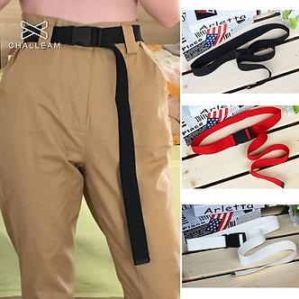 120cm Candy Colors Women Men Canvas Belt Plastic Buckle Tactical Long Red Black