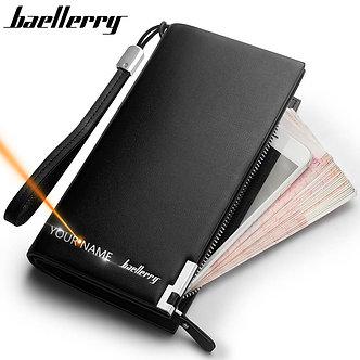 Baellerry Men Wallets Classic Long Style Card Holder Male Purse Quality Zipper
