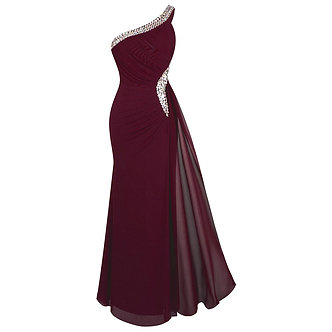 Angel-Fashions Women's One Shoulder Evening Dress Long Pleated Beading Formal