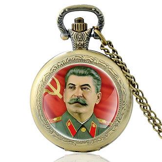 Antique Soviet Hero Stalin Quartz Pocket Watch Vintage Men Women