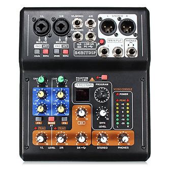 Professional 4/6/7 Channel Line Live Mixing Studio Audio Sound Mixer Console USB