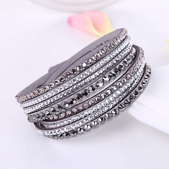 2016 New Leather Bracelet Rhinestone Crystal Bracelet Wrap Multilayer Bracelets