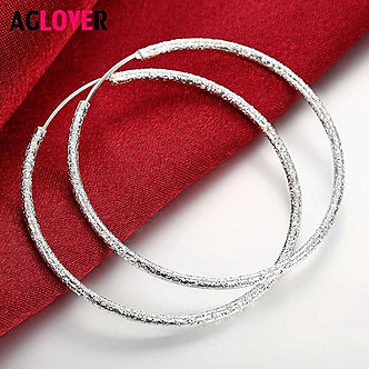 AGLOVER 925 Sterling Silver Frosted Round 50MM Big Hopp Earrings for Women