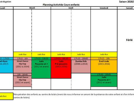 Reprise des cours enfants, semaine du 26 au 30 avril