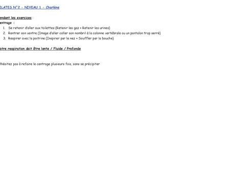 Cours de Pilates N°2, Niveau 1