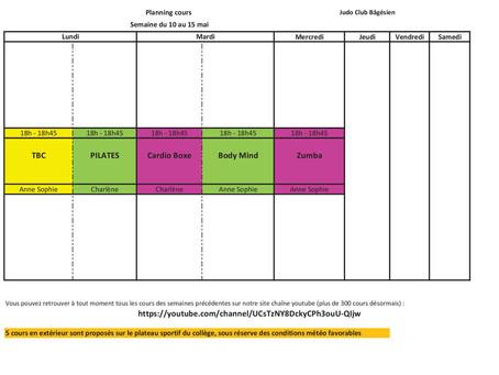 Planning de cours semaine du 10 au 15 mai