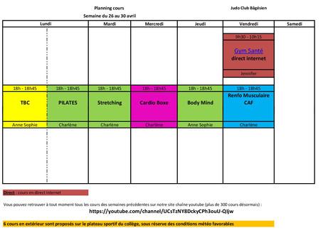 Cours Fitness Adultes, semaine du 26 au 30 avril
