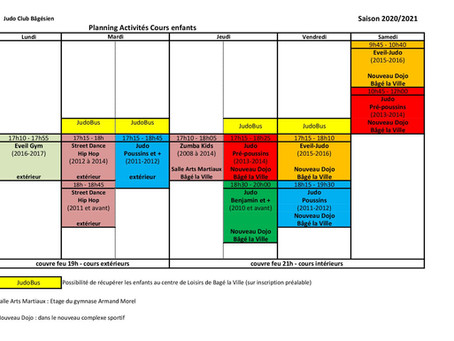 Planning des cours à partir du 17 mai