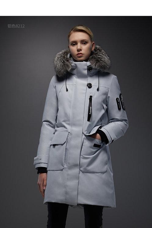 【传奇系列】中长款女羽绒服大毛领冬季鹅绒保暖外套B90142272