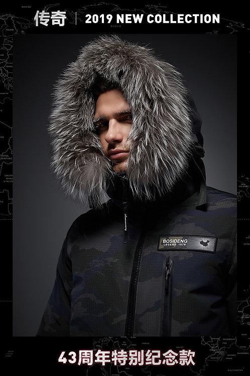 【传奇系列】男中长款迷彩大毛领鹅绒加厚时尚外套B90142271