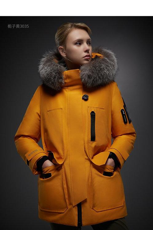【传奇系列】中长款女羽绒服传奇系列大毛领冬季鹅绒保暖外套B90142172