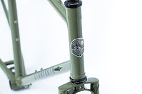 Kibo Dirt Drop fork crown, head tube and headbadge